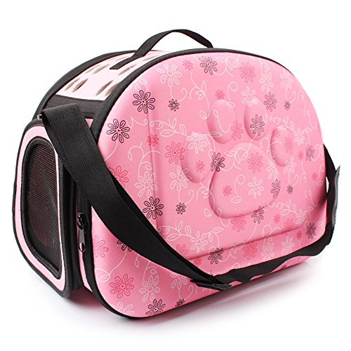 XiYunHan Haustier-Rucksack, Reise-Träger-Schulter-Beutel-Falten Gedruckte Abdrücke beweglicher Zwinger Breathable Outdoor-Welpen-Katzen-Hundebeutel-Tasche 3 Farbe (Color : Pink)