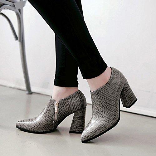 MissSaSa Donna Scarpe col Tacco Alto Fashion Shoes Stivali Sottile Grigio