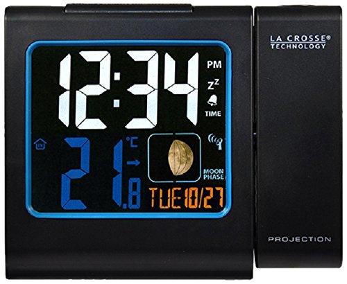 La Crosse Technology WT551 Réveil Radio Piloté avec projection Ecran Couleurs - Noir