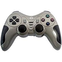 Ckeyin® Gamepad inalámbrico para Sony PlayStation , doble vibración, controlador sin cables PS2 y PS3 y PC - Gris