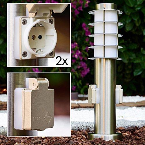"""Sockelleuchte Serie """"Tunes"""" mit zwei Steckdosen Sockellampe aus Edelstahl mit Schuko Stecker geeignet als Gartenlampe"""