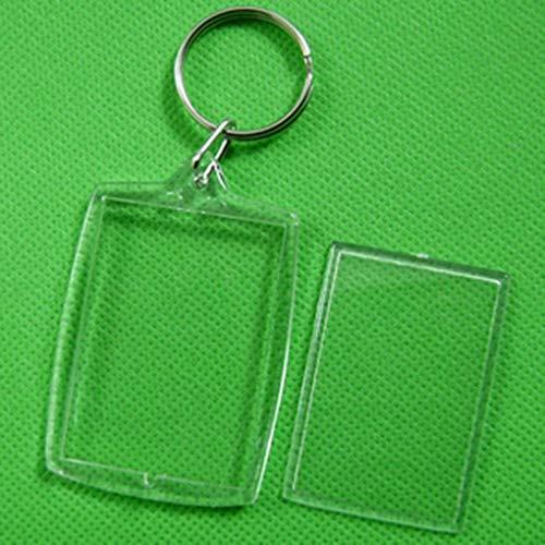 Zerama 10pcs Transparente en Blanco Insertar Marco de la Foto del Llavero del Llavero del Regalo de Split