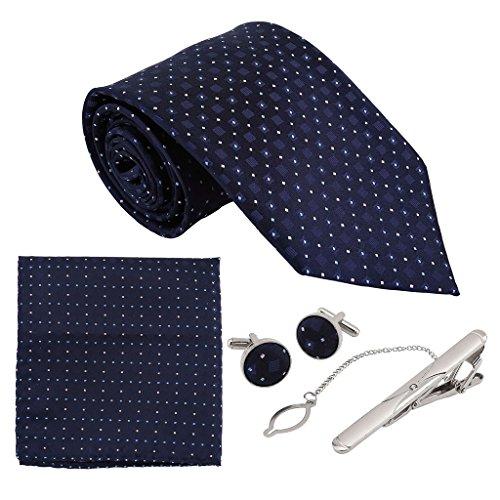 Faleto 4pc Herren Krawatte Set mit 8.5cm Krawatte + ManschettenKnöpfe + Einstecktuch + Krawatte Bar Geschenk Set (Nachtblau Wellen)