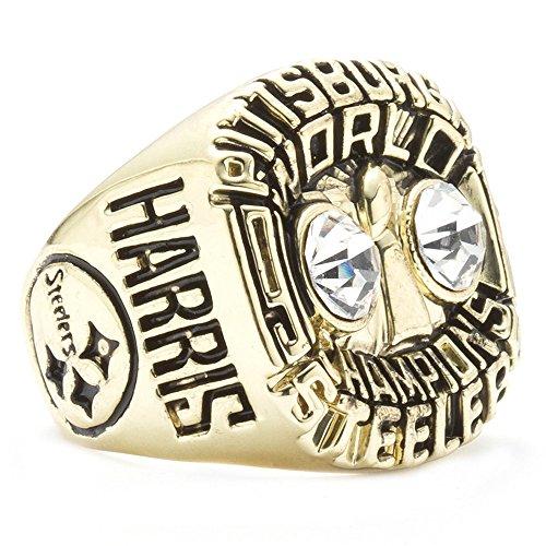 ZNKVJ Gezeiten Männer Das Jahr 1975 Pittsburgh Steelers Meisterschaft Ringe,Größe 67(21.3)