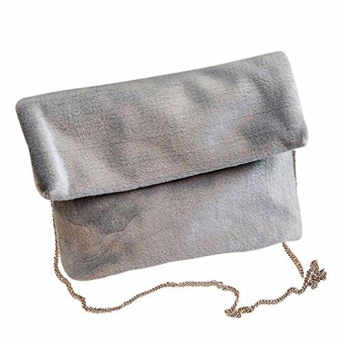 Koly_Le donne della peluche a tracolla pacchetto della busta Grigio