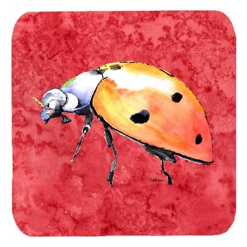 Caroline 's Treasures 8868FC Lady Bug auf Schaumstoff rot Untersetzer (4Stück), 8,9cm H x 8,9cm W, multicolor (Monogramm Womens)