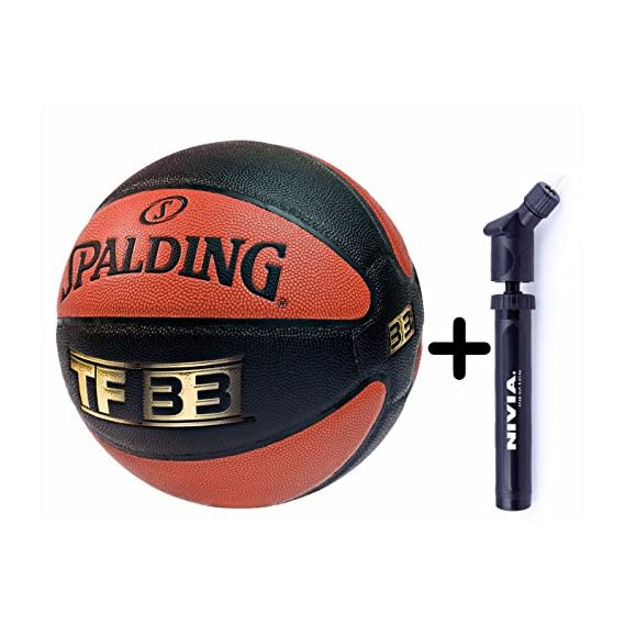 Spalding Basketball TF 33 Combo (Spalding TF 33 Basketball, Size 7 + Niva Double Action Ball Pump)