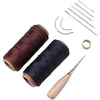 Pandahall Elite 9 pezzi in pelle Craft kit set aghi da cucito a mano con 2  rotoli in pelle cerata corda trapano punteruolo e ditale per la riparazione  di ... a891b64e0213