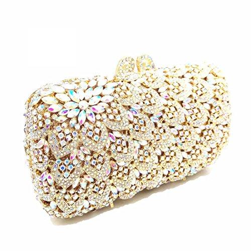 Frauen-Kupplungs-Geldbeutel LuxuxRhinestone Kristallabend-Handtaschen White