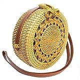 Bali Bags runder Rattan-Tasche, handgewebt, mit Strohhalm, Schultergurt, Sommer, Strandtasche, 20...