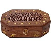 San Valentino regalo, In legno palissandro organizzatore scatola di gioielli con intricati intagli - Deco Storage Box