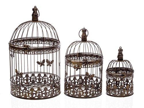 Lot de 3 cages à oiseau décorative - style antique - métal - marron