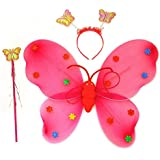 Wobbox Girls Butterfly Wings, Fairy Wings, And Angel Wings For Kids. For Garden Parties, Birthday Parties And Much More. 3 Piece Set Single Layer (Red)