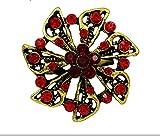 Rote Kristallrhinestones-kleine Blumenbrosche Stifte für Frauen Kleid in der antiken Goldfarbe überzogen