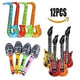 Aufblasbare Gitarre Vakki (12-teilig) Luftgitarren Inflatables Gitarre Aufblasbare Saxophon Mikrofon Spielzeuge, aufblasbare Musikinstrumente für Kinder und Erwachsene Party