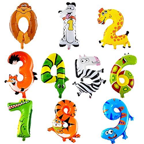 TOYMYTOY 10 Stück Tier Anzahl Folienballon 16 Zoll 0-9 Ziffer Luftballons Kinder Geburtstag Party Favors Liefert Dekoration