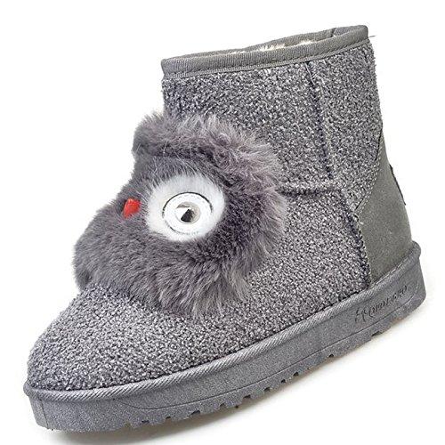 HSXZ Scarpe da donna in pelle scamosciata Winter Snow Boots stivali Null tacco piatto Round Toe stivali Mid-Calf Applique per Casual Borgogna Nero Grigio Burgundy