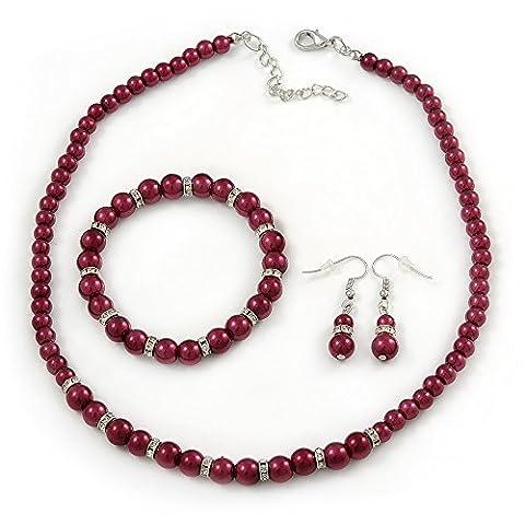 6mm, 8mm Cranberry Red Glass/ Crystal Bead Necklace, Flex Bracelet