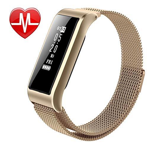 YK WATCH Multifunktions Intelligente Uhr Herzfrequenz Blutdruck Schlafmonitor Blutsauerstoff IP67 Wasserdicht,Gold