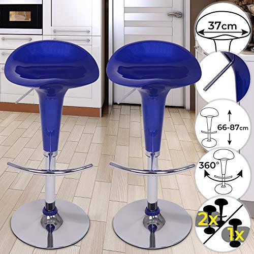 Miadomodo sgabello da bar - girevole a 360°, regolabile in altezza con poggiapiedi, sedile in plastica, struttura in metallo cromato, set a scelta - sedia da bancone, da cucina, sedia alta (set da 2)