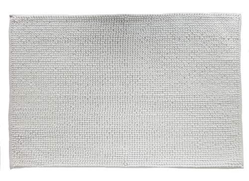 Quantum Interior Chenille Badematte 60x90 - moderner Microfaser Badvorleger in Trendfarben - schnell trocknend (Weiß)