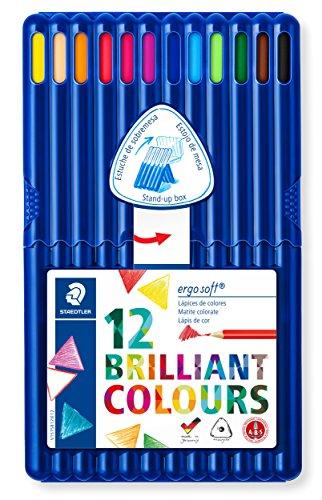 Staedtler ergo soft 157 SB12 Buntstifte, erhöhte Bruchfestigkeit, dreikant, Set mit 12 brillanten Farben, rutschfeste Soft-Oberfläche, kindgerecht nach DIN EN71, FSC-Holz