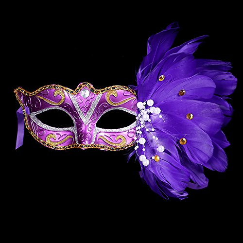 AOTUO Augenmaske, Federaugenmaske, für Halloween, Fasching, Karneval, Kostüme, Party, Ball, Abschlussball, Plastik, violett, ()