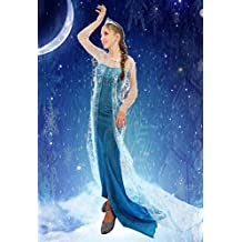Adulto Mujer Disfraz De Princesa Elsa de Frozen Cosplay Fiesta albornoz disfraz Outfit, S(UK SIZE 8-10)