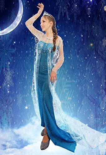 Everglamour - Disfraz de Elsa de Frozen para adulto, M(UK SIZE 10-12)