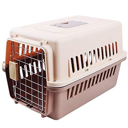 QKEMM Hundetransportbox Hundebox Katzenbox Airbox Tragbares Dropbox-Reiseauto Auto Transportbox Reisebox für Tiere Hunde Transporttsche Braunes Medium