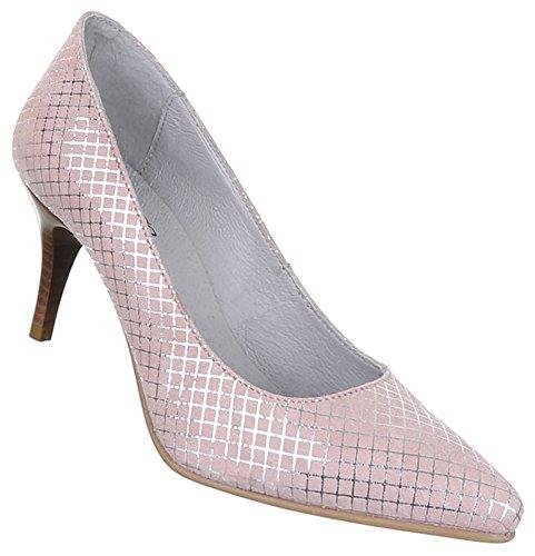 Damen Schuhe Pumps Leder High Heels Hellrosa