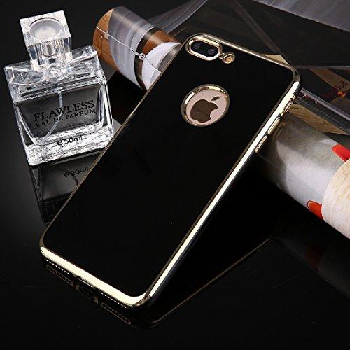 iPhone 8 plus, 7 plus Tasche, KrygerShield® - weiche Luxus-Metallic-flexible Schutzhülle mit galvanisierter Stoßstange in weiß Black