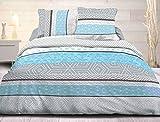 Le linge de Jules Parure Drap Plat + Drap-Housse 140x190 + 2 T - Pur Coton 57 Fils - Leon Bleu