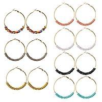 Zihuist Bohemian Ethnic Earrings Multicolor Rice Beads Exaggerated Circle Earrings European and American Earrings Women