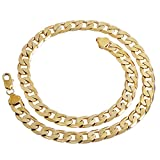 Unisex 7mm Width Gold Plated Chain Link Necklace 24""