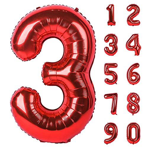 Dizoony Globos Numéricos Jumbo Balloon Foil de cumpleaños Decoración Fuentes de Fiesta (3)