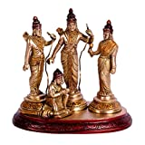 Crafthut Ram Darbar Statue- Rama Sita Laxman Hanuman God Statue - Golden Finish Brass Religious Idol H - 7 Inches
