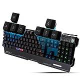 Sades K8blademail Wired Computer USB Gaming Tastatur für PC Gamer, 19non-conflict Schlüssel, 7Hintergrundbeleuchtung Farben, Metall Material (schwarz)