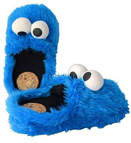 """Close Up - Ciabatte peluche, soggetto Cookie Monster personaggio immaginario appartenente al mondo di """"Sesame Street"""" (""""Sesamo apriti""""), taglia XL (44/46)"""