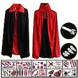 Hook Mantello Nero Rosso, Costume Vampiro Halloween Bambino Adulti Bambini (80cm)+ 10 Pezzi di Tattuaggio+ 4 Pezzi Kit di Zanne di Vampiro