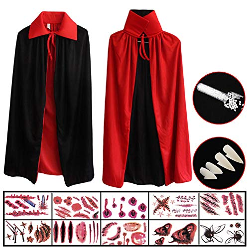 Hook Vampir Kostüm Kinder Umhang Schwarz Rot Teufel Kostüm Mit Tod Kultfaktor Hexe Cape Umhang für Kinder or Damen Halloween Kostüm Mantel Umhang 80cm, 10x Temporäre Tattoos, 4X Dentures (Kinder Kostüm Zu Machen)