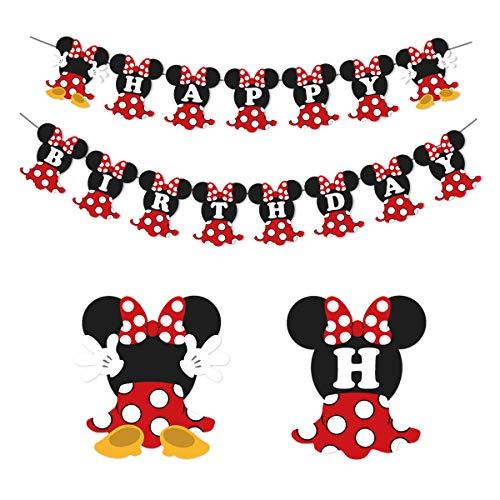 JOYMEMO Minnie Happy Birthday Banner Rot und Schwarz Minnie Mouse Party Supplies Geburtstagsfeier und Baby Shower Dekorationen für Mädchen