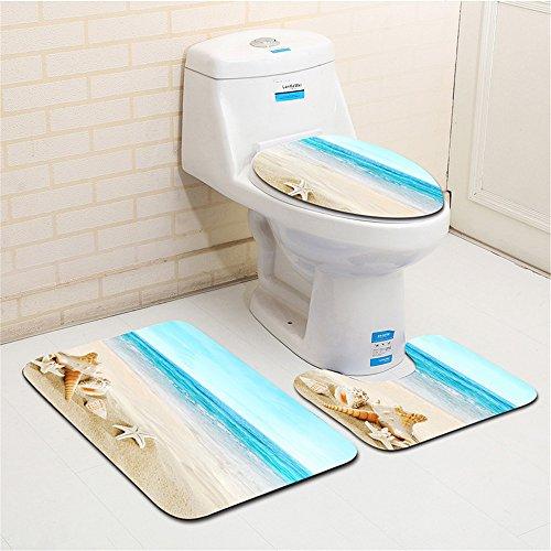 PLYY 3 Stück Badematte Sets Non Slip, Flanell Stoff Seestern und Shell Print Badezimmer Sets Matten, einschließlich Badematte, Podest Matte und WC Sitzbezug, I - Moderne Set Podest