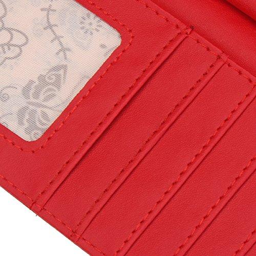 patta Rosso lunga a donna a Rosso da pelle in OURBAG portafoglio Pochette con farfalla xOfIqWR0w