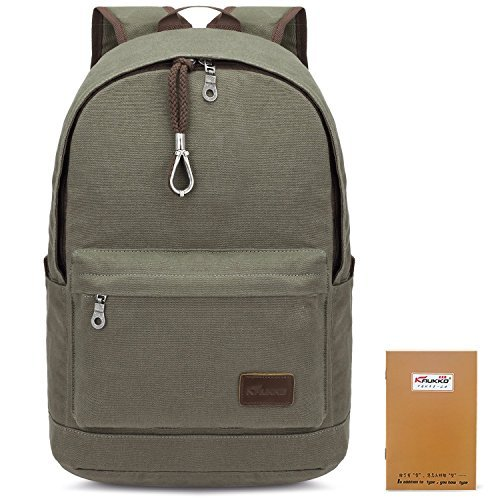 KAUKKO Canvas Backpack for School Travel Rucksack Fits up to 15 inch Laptop Army Green