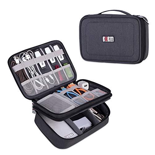 BUBM Mehrfachfunktion Kabelorganiser Tasche Reisetasche mit Doppelschichten für Elektronische Zubehöre wie Netzteil, Maus und USB Stricks (Mittel,...
