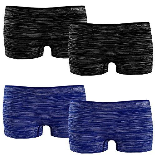 4St Damen Boxershorts Panty Hotpants Microfaser Sport Unterhose Sportpanty Melange 34-36 Duo (Panty Boxershorts)