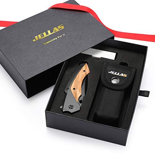 JELLAS J-003 Taschenmesser mit Schwarz Beschichteter 7Cr17-Klinge aus Rostfreiem, Stahl mit Schärfer und Gürteltasche, Outdoor-Überlebensmesser für Camping, Jagd, Angeln mit Holzgriff, Geschenkidee