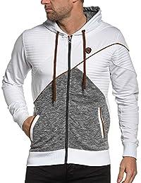 BLZ jeans - Veste homme zippée blanche à capuche
