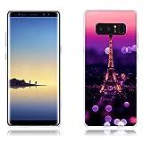Funda Samsung Galaxy Note8 Carcasa de Silicona Transparente TPU, Escena Nocturna de la Torre Eiffel, Flexible -FUBAODA- Resistente a Los Arañazos en su Parte Trasera, Amortigua los Golpes, Funda Protectora Anti-golpes para Samsung Galaxy Note8